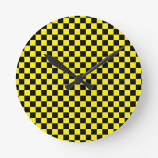 Yellow checkered wall clock
