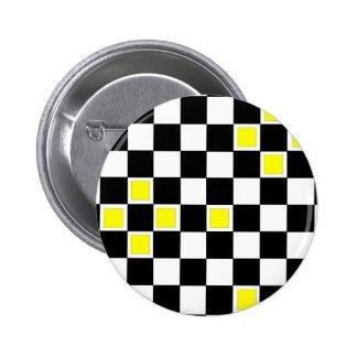 Yellow Checkers 6 Cm Round Badge