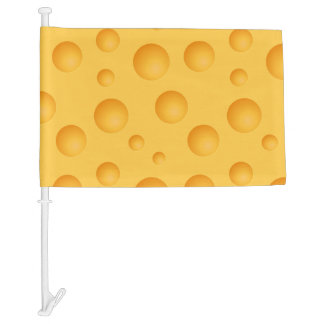 Yellow Cheese Pattern Car Flag