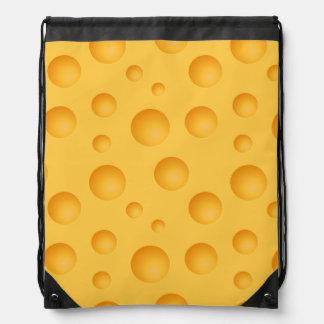 Yellow Cheese Pattern Drawstring Bag