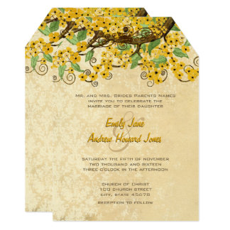 Yellow Cherry Blossom Tea Stain Wedding Invites