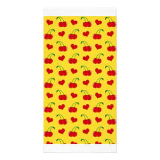 Yellow cherry hearts pattern picture card
