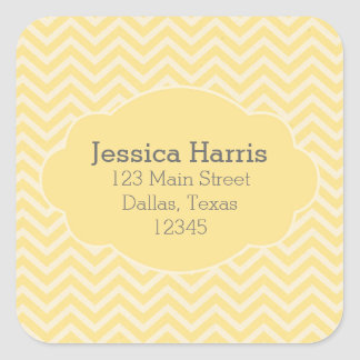Yellow Chevron Address label sticker