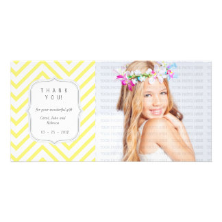 Yellow Chevron - Any Occasion Thank you Photo Card