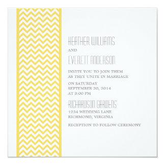 Yellow Chevron Border Wedding Invite