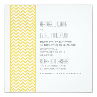 "Yellow Chevron Border Wedding Invite 5.25"" Square Invitation Card"
