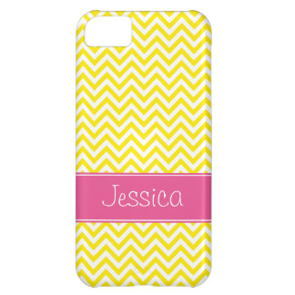 Yellow Chevron Chic Pink Personalized iPhone 5C Case