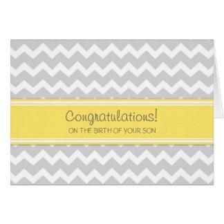Yellow Chevron Congratulations New Baby Boy Greeting Card