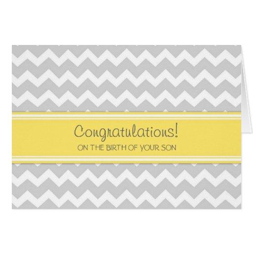 Yellow Chevron Congratulations New Baby Boy Card