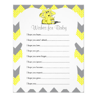 Yellow Chevron Elephant Baby Shower - Wishes Flyer