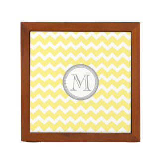 Yellow Chevron Grey Monogram Desk Organizer