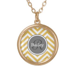 Yellow Chevron Monogram Round Pendant Necklace
