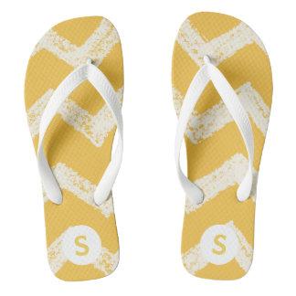 Yellow Chevron Personalized Monogrammed Flip Flop