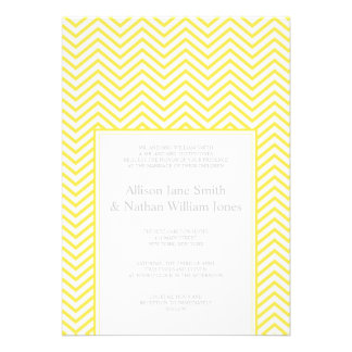 Yellow Chevron Print Wedding Invitation