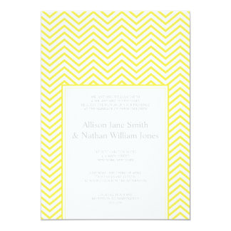 "Yellow Chevron Print Wedding Invitation 5"" X 7"" Invitation Card"