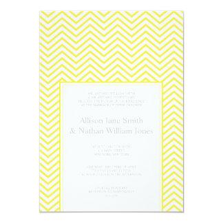 Yellow Chevron Print Wedding Invitation