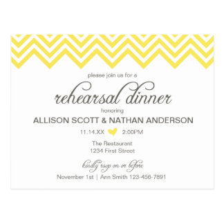 Yellow Chevron Rehearsal Dinner Invite Postcard