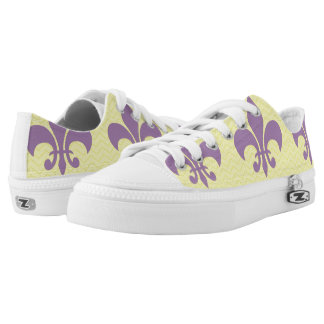 Yellow Chevron Shoes With Purple Fleur De Lis