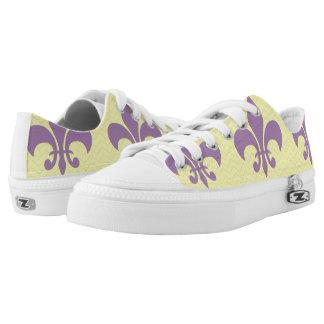 Yellow Chevron Shoes With Purple Fleur De Lis Printed Shoes