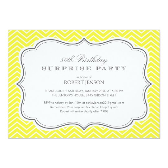 Yellow Chevron Stripes Surprise Party Invitations