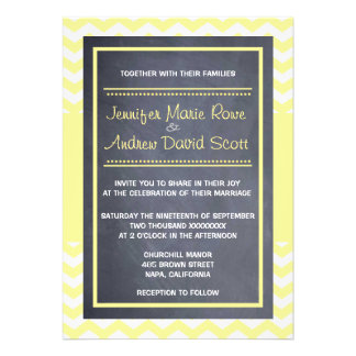 Yellow Chevron Wedding Invitation
