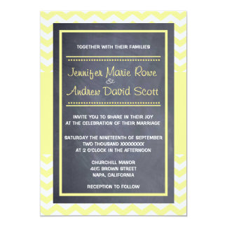 "Yellow Chevron Wedding Invitation 5"" X 7"" Invitation Card"