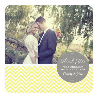 Yellow Chevron Wedding Thank You Card