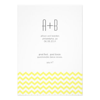 Yellow Chevron You In? Save the Date Personalized Invites
