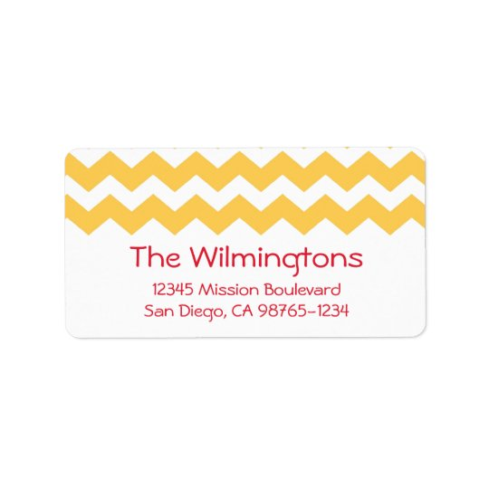 Yellow chevron zigzag pattern return address label