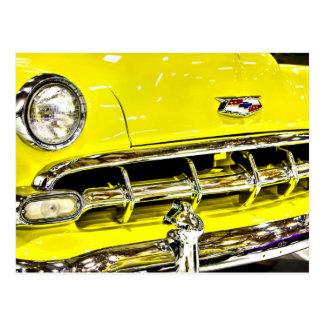 Yellow Chevy Classic Car Postcard