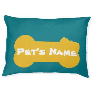 Yellow Chewed Bone Personalized Large Dog Bed 3