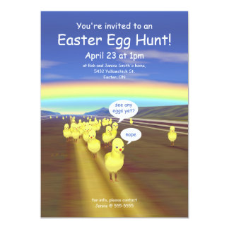 "Yellow Chick Road Easter Egg Hunt 5"" X 7"" Invitation Card"