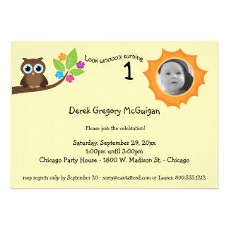 Yellow Children s Birthday Party Owl Photo Invite
