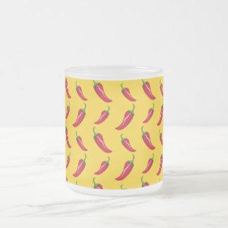 Yellow chili peppers pattern mugs