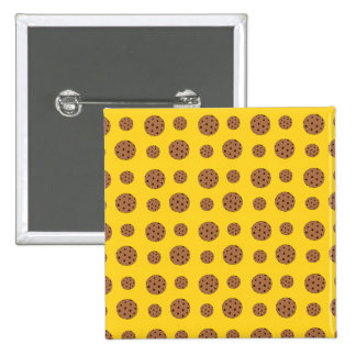 Yellow chocolate chip cookies pattern pinback buttons