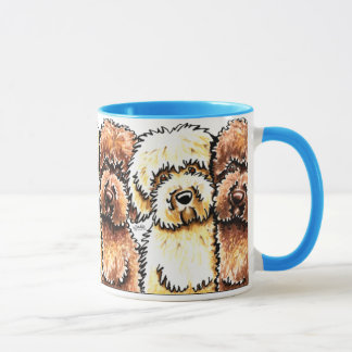 Yellow Chocolate Labradoodles Art Mug