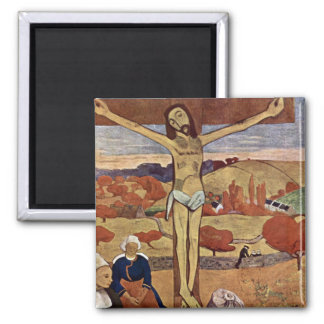 Yellow Christ by Paul Gauguin, Vintage Fine Art Square Magnet