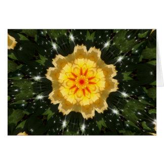 Yellow Christmas Rose Kaleidoscope Card