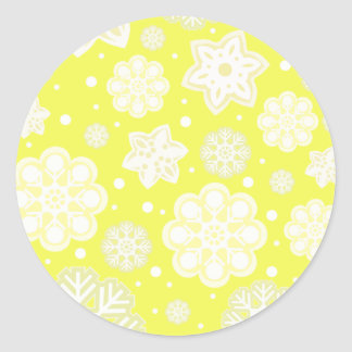 Yellow Christmas Snowflake Pattern Round Sticker