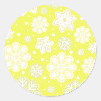 Yellow Christmas Snowflake Pattern Round Sticker