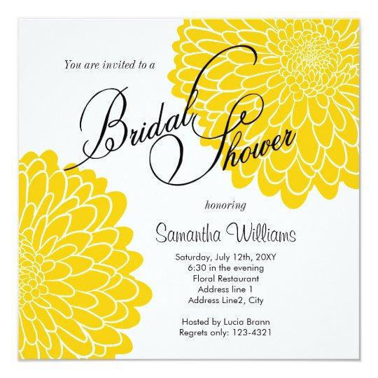 Yellow Chrysanthemum Bridal Shower Invitation