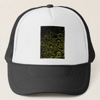 Yellow circles, rolls, ovals abstraction pattern trucker hat