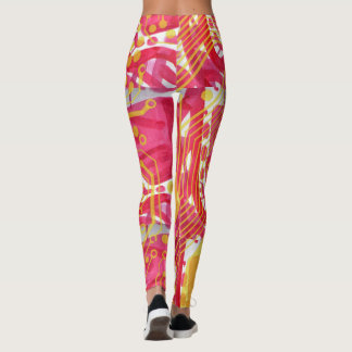 Yellow Circuit Pattern on red abstract Leggings