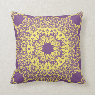 Yellow Circular Spritual Pattern Cushion