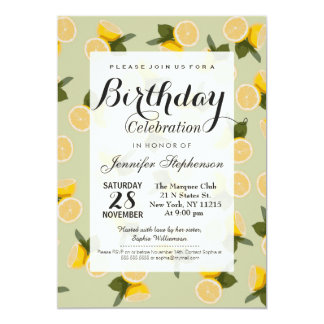 Yellow Citrus Lemon Fruit on Pale Lime Green 13 Cm X 18 Cm Invitation Card