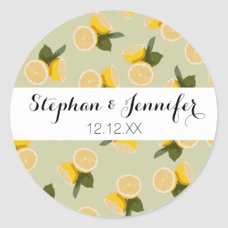 Yellow Citrus Lemon Fruit on Pale Lime Green Classic Round Sticker