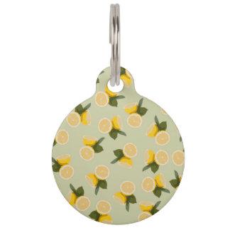 Yellow Citrus Lemon Fruit on Pale Lime Green Pet ID Tag
