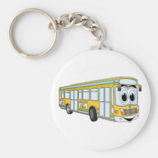 Yellow City Bus Cartoon Key Ring