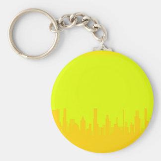 Yellow Cityscape Basic Round Button Key Ring