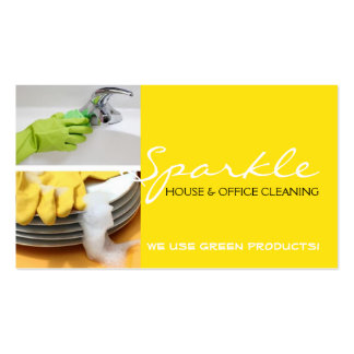 Yellow Clean House Home Cleaning Cleaners Business Business Card Templates